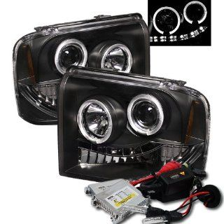 High Performance Xenon HID Ford F250/350/450 Super Duty Halo LED ( Replaceable LEDs ) Projector Headlights with Premium Ballast   Black with 8000K Crystal Blue HID Automotive