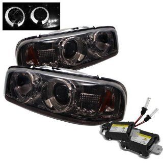 Carpart4u 6000K Xenon HID Performance Headlights Package for GMC Sierra 1500/2500/3500 / GMC Sierra Denali / GMC Yukon/Yukon Denali/Yukon XL Halo LED ( Replaceable LEDs ) Smoke Projector Headlights Automotive