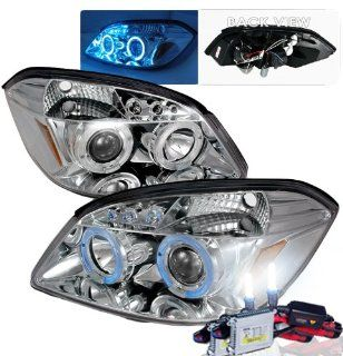 High Performance Xenon HID Chevy Cobalt Halo LED Projector Headlights with Premium Ballast (Chrome Housing w/ Clear Lens & 6000K HID Lighting Output) Automotive