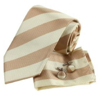 Khaki Stripes Silk Tie Hanky Neck Tie for Him Cufflinks for Men Gift Box PH1004 148*9CM Clothing