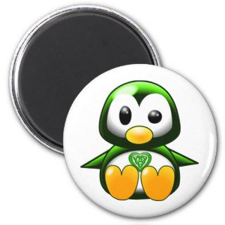 Cute Green Irish Penguin Cartoon with Celtic Knot Fridge Magnet