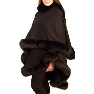 Black Cashmere Cape with Black Fox Fur Trim Cold Weather Scarves