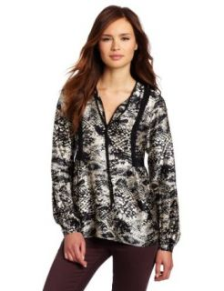 Amanda Uprichard Women's Mayan Blouse, Black Snake, Petite