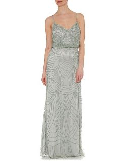 Adrianna Papell Deco beaded dress Silver Marl