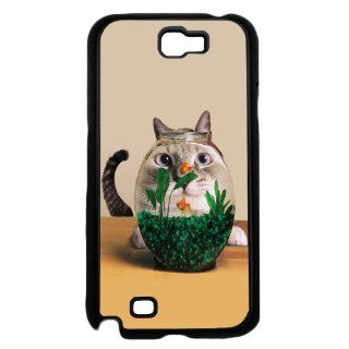 Animal Cat Looking At Fish Bowl Cute Funny Samsung Galaxy Note II 2 N7100 Phone Case Rare