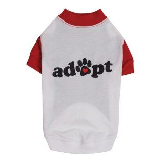Casual Canine Red & White Pet Adoption Raglan Dog Adopt Tee Shirt Small/Medium Haustier