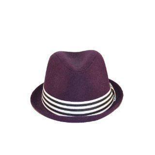 Purple felt Trilby Fedora Pinch top S/M Black White Stripe Band Sports & Outdoors