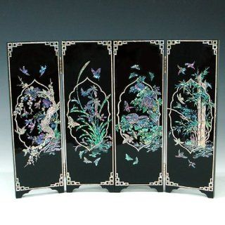 Mother of Pearl Inlay Art Orchid, Chrysanthemum, Bamboo and Plum Flower Design Decorative Black Wood Mini Folding Screen Wall Plaque Asian Oriental Home Decor Electronics