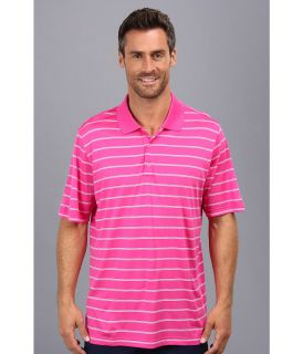 adidas Golf Puremotion 2 Color Stripe Jersey Polo 14 Mens Short Sleeve Knit (Coral)