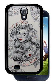 """Smile Now Cry Later"" Clown Girls   Black Samsung Galaxy S4 Dual Protective Case BRUSHED ALUMINUM Cell Phones & Accessories"