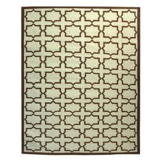 Safavieh Hand woven Moroccan Dhurrie Light Blue/ Chocolate Wool Rug (9 X 12)