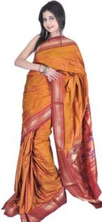 Exotic India Women's Paithani Sari with Hand woven Peacocks on Anchal World Apparel Clothing
