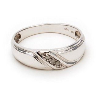 New Mens Genuine Diamond Ring, White Gold Band Jewelry