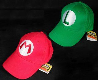 2PCS Super Mario Bros Luigi ADULT Hat Cap Costume cosplay Halloween hat baseball cap Clothing