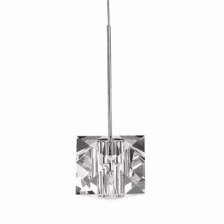 WAC Lighting MP 940 CL/BN Prisma Collection 1 Light Monopoint Pendant, Brushed Nickel with Clear Optical Crystal Glass Shade   Ceiling Pendant Fixtures