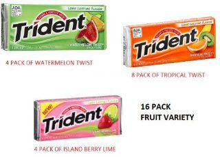 COS SL Trident FRUIT Variety 16 Pack Mixed Artificial Flavors Sugarfree GUM   16x18 Pieces Packages (288 Sticks Total)  Chewing Gum  Grocery & Gourmet Food