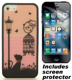 Black Pink Ero Style Cat Bird Cage Hard Cover Case & Screen Protector for Apple iPhone 5 Cell Phones & Accessories