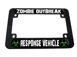Zombie Outbreak Response Vehicle   Green Biohazard Motorcycle License Plate Frame Automotive