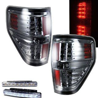 2009 2010 FORD F 150 F150 REAR BRAKE TAIL LIGHTS SMOKED LENS+LED BUMPER RUNNING Automotive