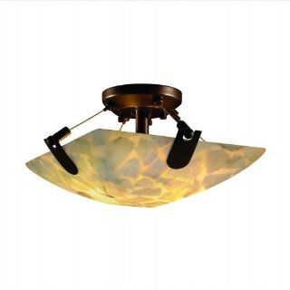 Alabaster Rocks U Clips 16 inch Bronze & Mosaic 2 Light Square Semi Flush Ceiling Light   Close To Ceiling Light Fixtures