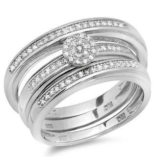 0.36 Carat (ctw) Plated Sterling Silver Round White Diamond Men & Womens Micro Pave Engagement Ring Trio Bridal Set 1/3 CT Jewelry
