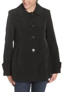 AK Anne Klein Women's Single Breasted Swing Coat, Black, Medium Outerwear