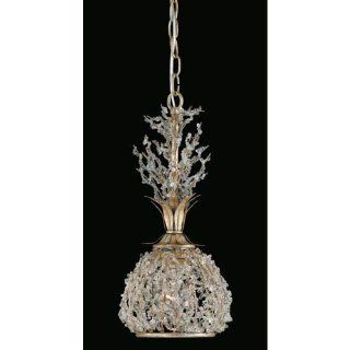 Triarch International 29239 Garland Collection 1 Light Mini Pendant Light, Gold and Silver Leaf Finish with Clear Crystal Beads   Ceiling Pendant Fixtures