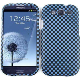 Cell Armor I747 SNAP 3D309 Snap On Case for Samsung Galaxy SIII   Retail Packaging   3D Embossed, Blue/Black Checkers Cell Phones & Accessories