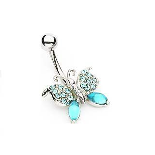 Navel Ring w/ Gem Butterfly Blue Butterfly Belly Ring Body Piercing Jewelry