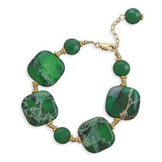 Emerald Green Jasper and Jade 14K Yellow Gold Fill Bracelet Adjustable Jewelry