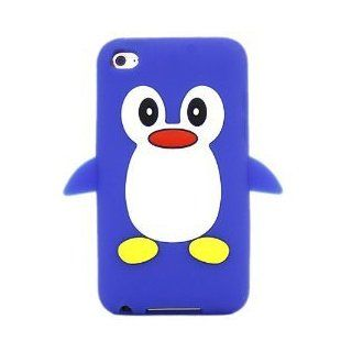 Apple Ipod Touch 4 4th Generation Cute Blue Penguin Soft Protective Silicone Case, Rubber Skin Cover Cell Phones & Accessories