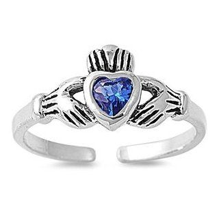 Italian .925 Sterling Silver BLUE SAPPHIRE HEART CZ IRISH CELTIC Claddagh Toe Ring ONE SIZE Jewelry