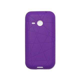 Fashionable Perfect Fit Soft Silicon Gel Protector Skin Cover (Faceplate/Snap On) Rubber Cell Phone Case with Screen Protector for HTC Droid Eris ADR6200 Verizon   Purple Cell Phones & Accessories
