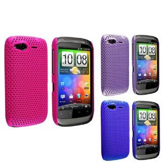 eForCity 3 Packs Meshed Rear Case Combo compatible with HTC Desire S / Desire 2, Pink / Purple / Blue Cell Phones & Accessories