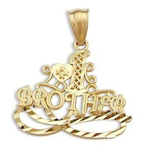 #1 Brother Pendant 14k Yellow Gold Family Love Charm Jewelry