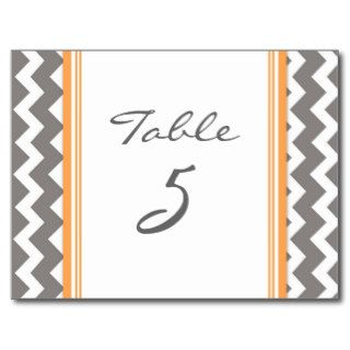 Wedding Table Number Cards Grey Orange Chevron Post Card