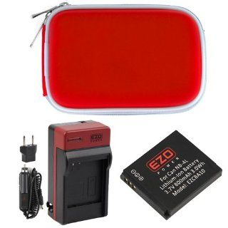 EZOPower Battery + Travel Charger with EU / Car Adapter + Red Compact Case for Canon PowerShot ELPH 330 HS, ELPH 300 HS, SD780 IS Digital Camera  Digital Camera Accessory Kits  Camera & Photo