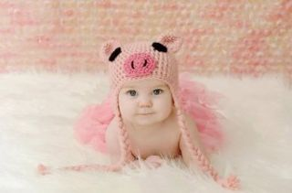 Newborn Toddler Crochet Piggy Pig Hat in Pink Baby Girl Boy Shower Party Costume Photo Props 0 12 Month Clothing