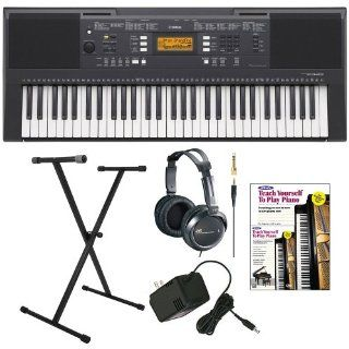Yamaha PSRE343 61 Key Portable Keyboard with Yamaha AC Power Adapter, Single X Style Keyboard Stand, Full Size Stereo Headphones and Alfred's Teach Yourself to Play Piano   Book + DVD Musical Instruments