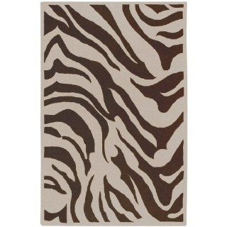 3.25' x 5.25' Zebra Animal Print Ivory and Coffee Bean Brown Wool Area Throw Rug