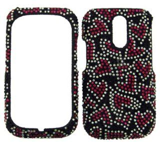 FULL DIAMOND CRYSTAL STONES COVER CASE FOR KYOCERA RIO E3100 HOT PINK HEARTS BLACK Cell Phones & Accessories