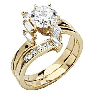 14K Yellow Gold Solitaire Round CZ Cubic Zirconia with Side stone High Polish Finish Ladies Wedding Engagement Ring and Matching Band 2 Two Piece Sets Jewelry