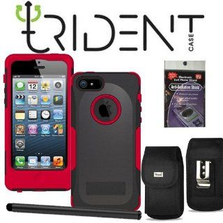 Trident Aegis Red Heavy Duty Protective Silicone and Hard Cover Case (Compare with Otterbox Commuter Case) with Screen Protector and Metal Clip Case for iPhone 5, Comes with Radiation Shield. Cell Phones & Accessories