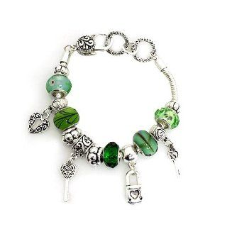 "Fashion Charm Bracelet ; 8""L; Silver Tone Metal with Green Beads; Lock, Heart and Key Charms; Lobster Clasp closure Snake Charm Bracelets Jewelry"