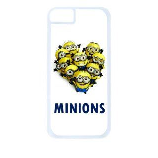 Minions Heart Shape White Tough Plastic Outer Case with Black Rubber Lining for Apple Iphone 4 (Double Layer Case with Silicone Protection), Iphone 4s Universal Verizon   Sprint   At&t   Great Affordable Gift Cell Phones & Accessories