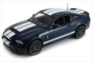 2013 Ford Shelby Cobra GT500 SVT Deep Blue with White Stripes 1/18 by Shelby Collectibles SC390A Toys & Games