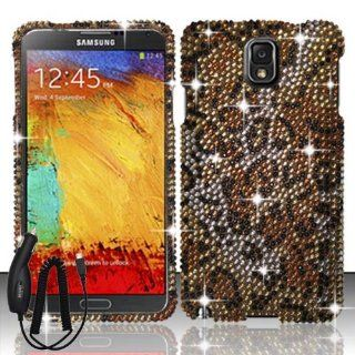 SAMSUNG GALAXY NOTE 3 BROWN LEOPARD ANIMAL DIAMOND BLING COVER SNAP ON HARD CASE + FREE CAR CHARGER from [ACCESSORY ARENA] Cell Phones & Accessories