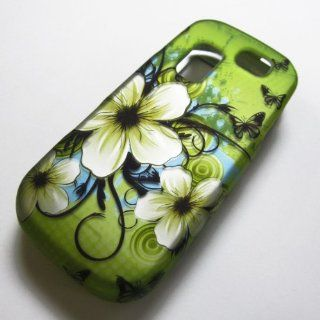 RUBBERIZED HARD PHONE CASES COVERS SKINS SNAP ON FACEPLATE PROTECTOR FOR SAMSUNG SGH T404G STRAIGHT TALK NET10 TRACFONE  OR GRAVITY 2 II SGH T469 T.MOBILE Slide / GREEN HAWAIIAN FLOWER (WHOLESALE PRICE) Cell Phones & Accessories