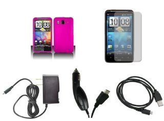 HTC Inspire 4G (AT&T) Premium Combo Pack   Hot Pink Hard Rubberized Cover Shield Case + FREE Atom LED Keychain Light + Screen Protector + Wall Charger + Car Charger + Micro USB Data Cable Cell Phones & Accessories