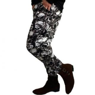 Men Elastic Waist Fancy Skull Pattern Soft Long Harem Pants at  Men�s Clothing store